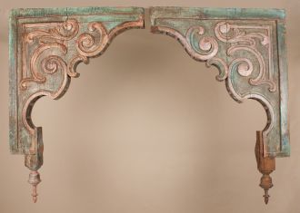 Pair of Antique Painted Teak Wood Corbels
