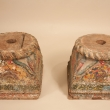19th Century Painted Teak Wood Column Bases