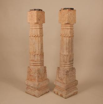 Pair of 19th Century Carved Stone Pillars